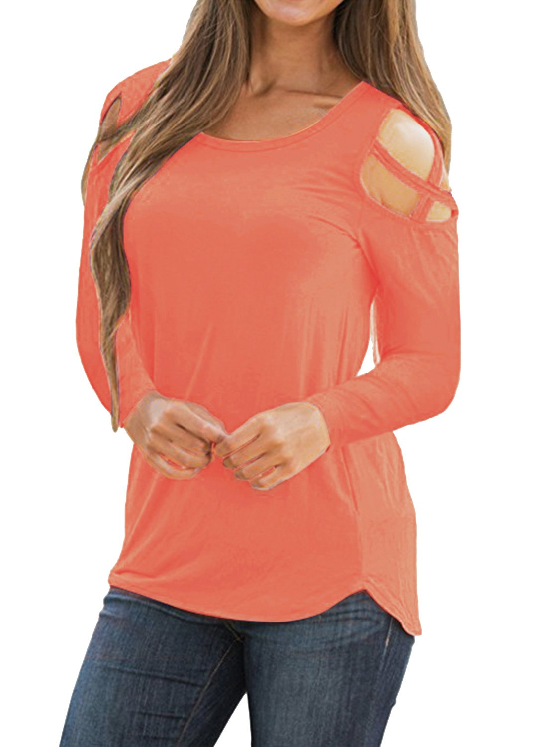 Adreamly Women's Casual Summer Long Sleeve Loose Strappy Cold Shoulder Tops Basic T Shirts Blouses Coral Pink Large