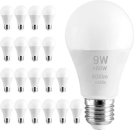 Lampadina LED E27 9W resa per 60W bianco caldo