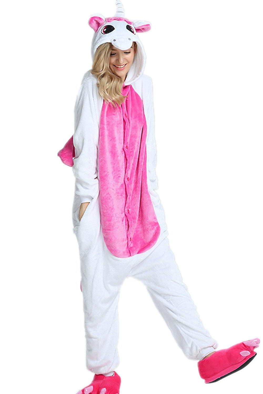 3400f7e5876fd Kenmont Déguisement Combinaison Licorne Pyjama Grenouillère Adulte Animal  Pyjamas Costume à Capuche Halloween Carnaval Noël Fête Tenue