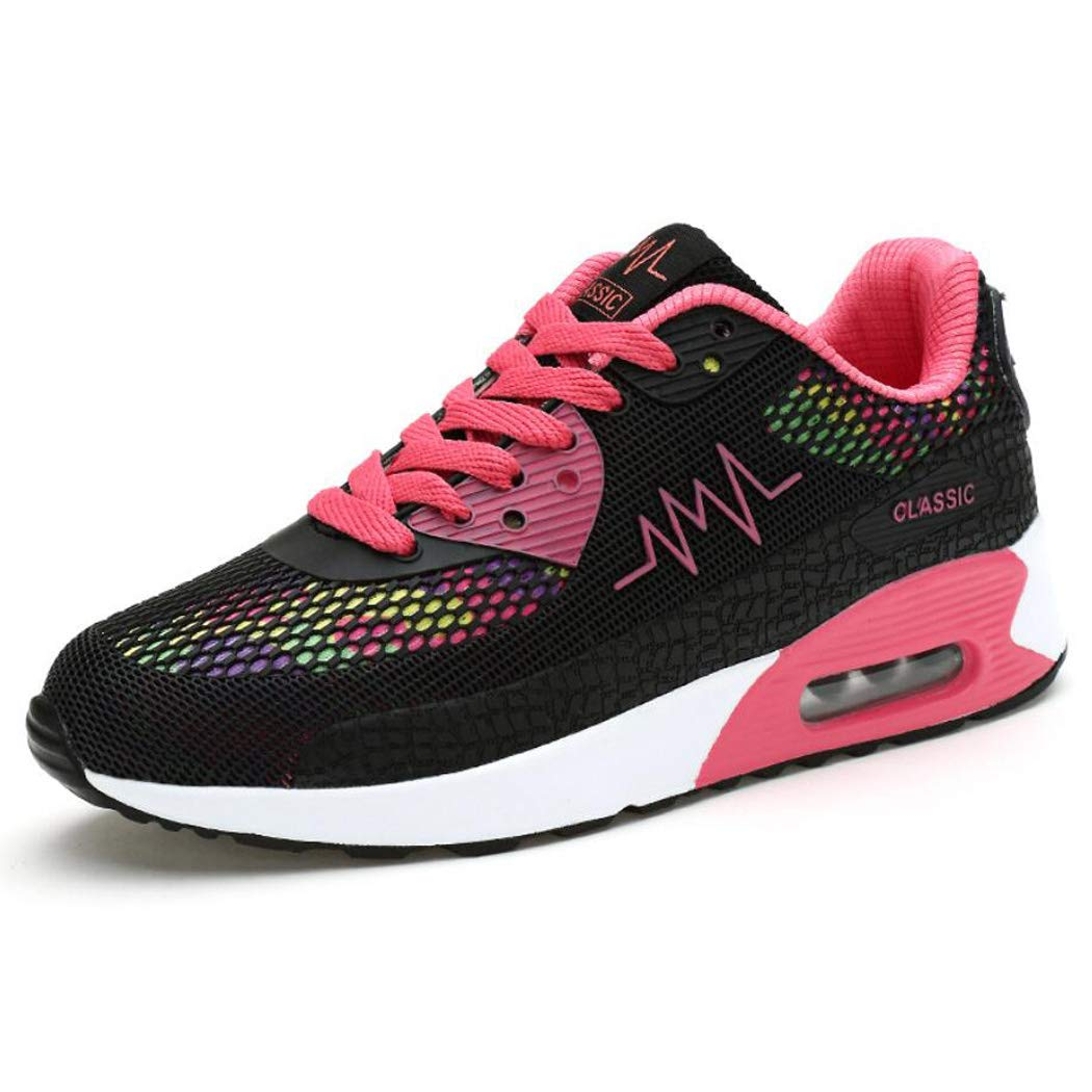 zxcvb Womens Fitness Air Cushion Workout Trail Running Shoes Fashion Sport Gym Jogging Walking Sneakers Black Yellow Blue