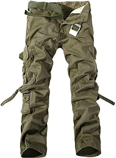 MSMIRROR Top Fashion Multi-Pocket Solid Mens Cargo Pants Men Trousers