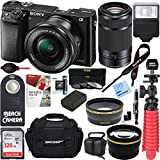 Sony Alpha a6000 24.3MP Mirrorless Camera 16-50mm & 55-210mm Zoom Lens (Black) + 128GB Accessory Bundle + Large Gadget Bag + Extra Battery+Wide Angle Lens+2x Telephoto Lens+Flash+Remote+Tripod