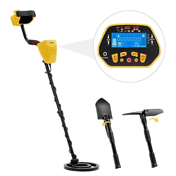 URCERI 1028 Detector de Metales, Alta Sensibilidad, 2 Modos de busca, Pantalla LCD, Modo de Sonido, Bobina de Búsqueda Sensible, Impermeable y fácil de uso ...