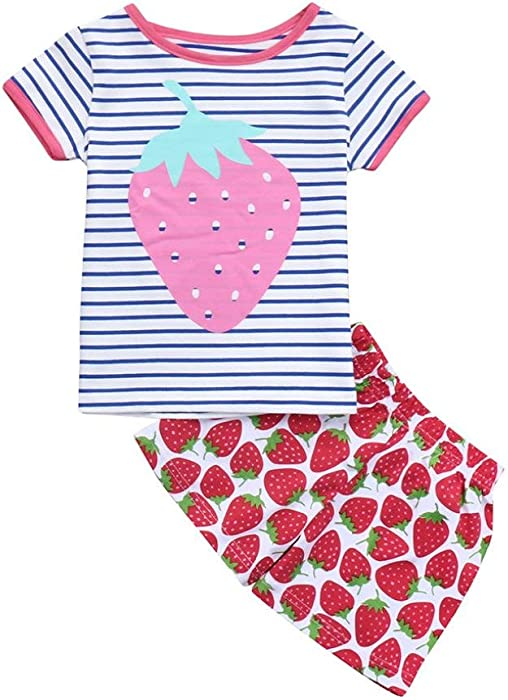 b733b234a Amazon.com  Dinlong 2Pcs Baby Girls Clothes Strawberry Print Striped ...