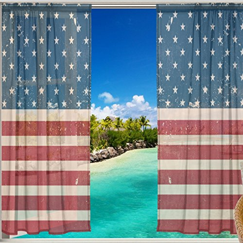 12' Vinyl Magnet Set (Vintage Distressed American USA Flag Window Sheer Curtain Panels, Christmas Decoration, Door Window Gauze Curtains Living Room Bedroom Kid Office Window Curtain 55x84 inch Two Panels Set)