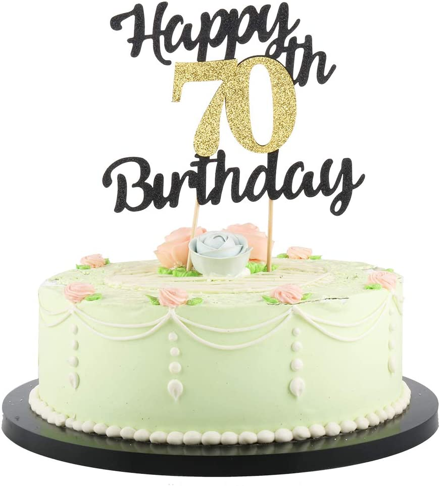Amazon Com Lveud Happy Birthday Cake Topper Black Font Golden Numbers 70th Birthday Happy Cake Topper Birthday Party Decorations 70th Toys Games