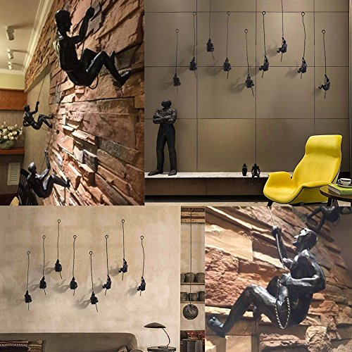 Olpchee Set of 3 Nordic Modern Simplicity Resin Sculpture Creative Climbing Man Wall Sculptures Hand-finished for Art Home Decor (Black)