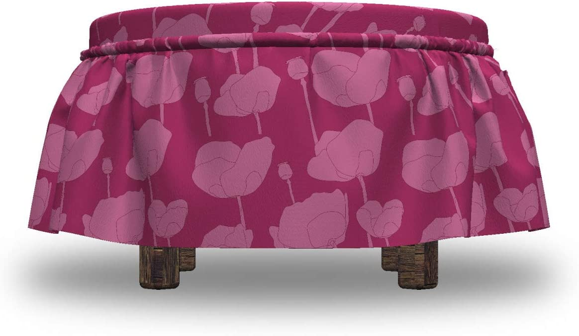 2 Piece Slipcover Set with Ruffle Skirt for Square Round Cube Footstool Decorative Home Accent Pink Monochrome Poppies Lunarable Romantic Ottoman Cover Pink and Magenta Standard Size