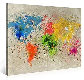 MOXO Groß Aquarell Weltkarte Leinwand Abstrakt Bunt Karte Bilder Prints Auf  Leinwand Für Wohnzimmer Wand Art