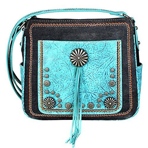 MW587 Montana Purses Body Tassel West Tool Floral Denim Black 8360 and Cross Handbags H4ABWUvqH