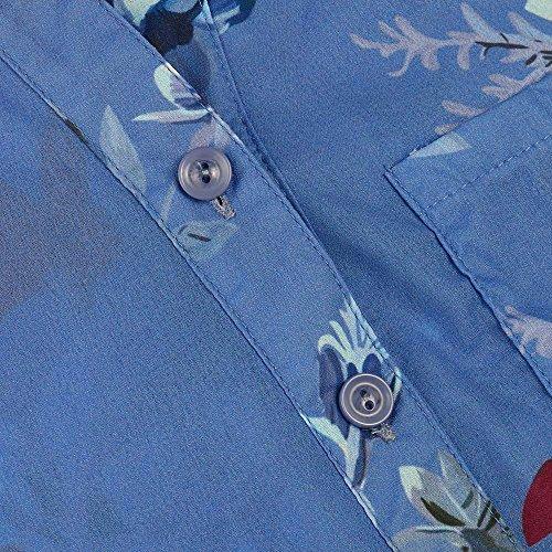 T Imprim Femmes Top IrrGuliRe VJGOAL en bleu Mousseline Mode De X Shirt Mousseline Soie Casual Blouse Hem De Top en Floral Bouton Soie zPqxPHdw