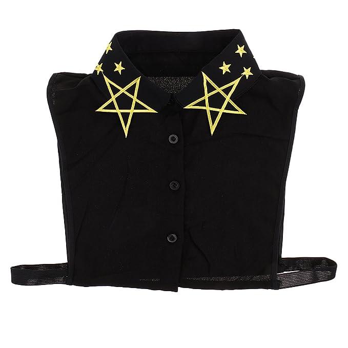 Sharplace Frauen Abnehmbare Kragen Falsche Schwarz Blusenkragen  Krageneinsatz Bluseneinsatz mit Sterne Stickerei 5965d3520e
