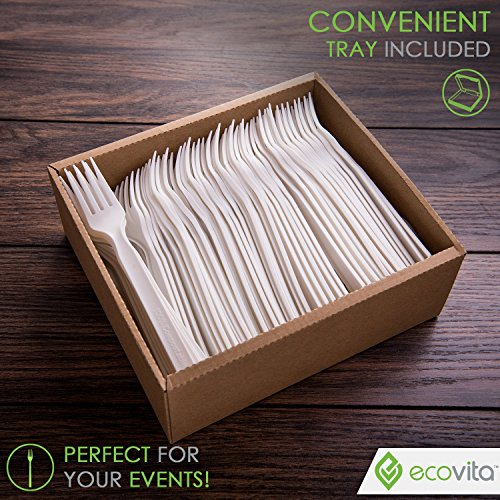 100% Compostable Biodegradable Forks Disposable Cutlery Set - 140 Large Compostable Utensils (7 in.) Eco Friendly Durable and Heat Resistant with Convenient Tray by Ecovita.co