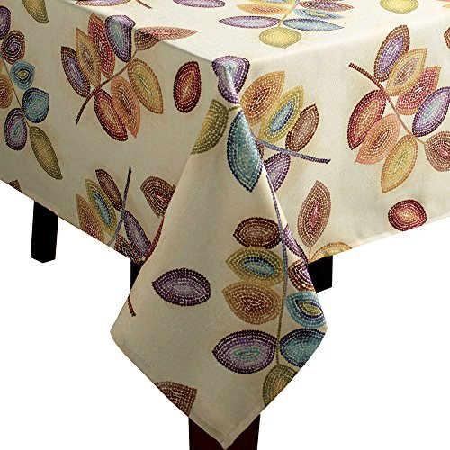 - Croscill Mosaic Tree Leaves Fabric Tablecloth (60-inch x 120-inch)