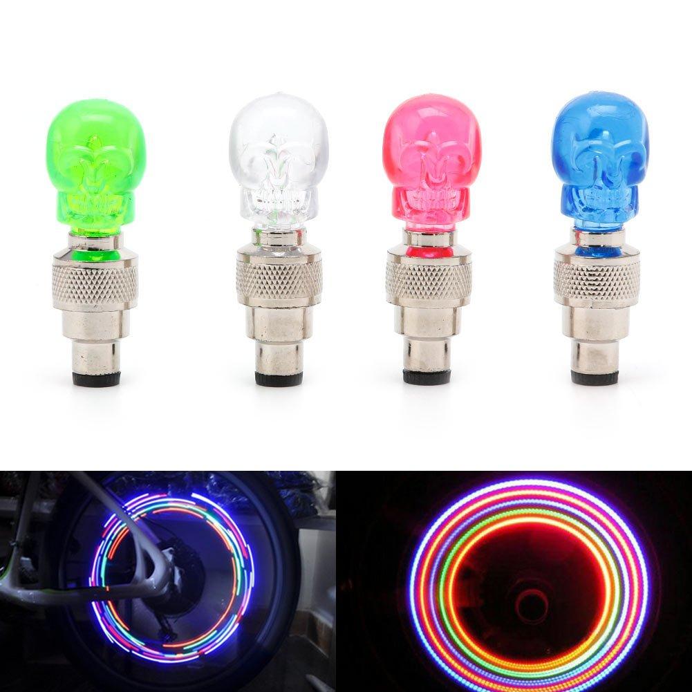 Delight ESHOP2PCS a Forma di Teschio valvola Pneumatico della Ruota Luce LED Lampada per Auto Moto Bici New