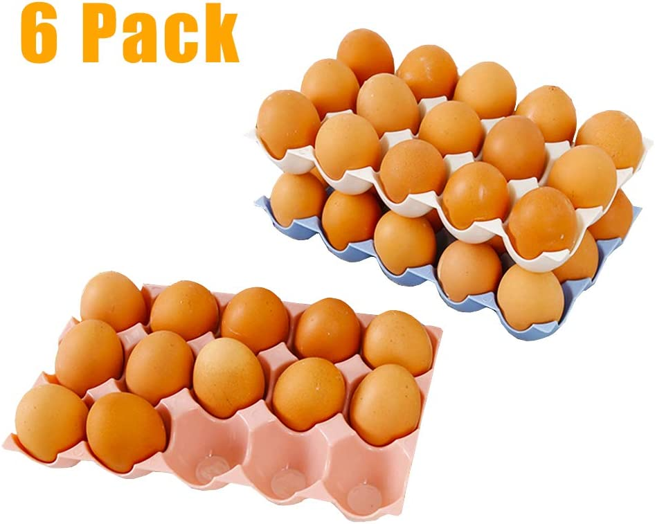 6 Pcs Egg Tray Holders,Stackable Plastic Egg Containers,Deviled Egg Crates with 15 Cups for Kitchen,Restaurant,Fridge Storage(Beige Pink Blue)