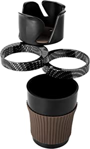 Car Cup Holder Expander Adapter, Universal 4 in 1 Cup Holder Extender Organizer, 360° Rotating Adjustable Car Drink Holder Water Bottle Cups Fits for Beverage Bottles KFC McDonald's Coffee Cup (Black)