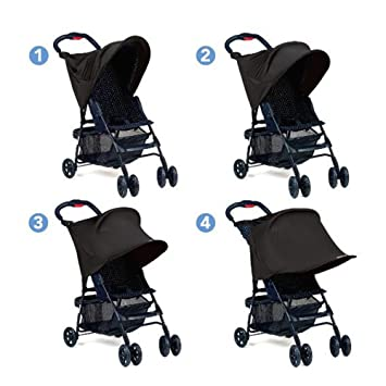 XCSOURCE Cochecito para bebés Sombra de Sol Protección UV Rayos Cubierta Toldo Negro WV248