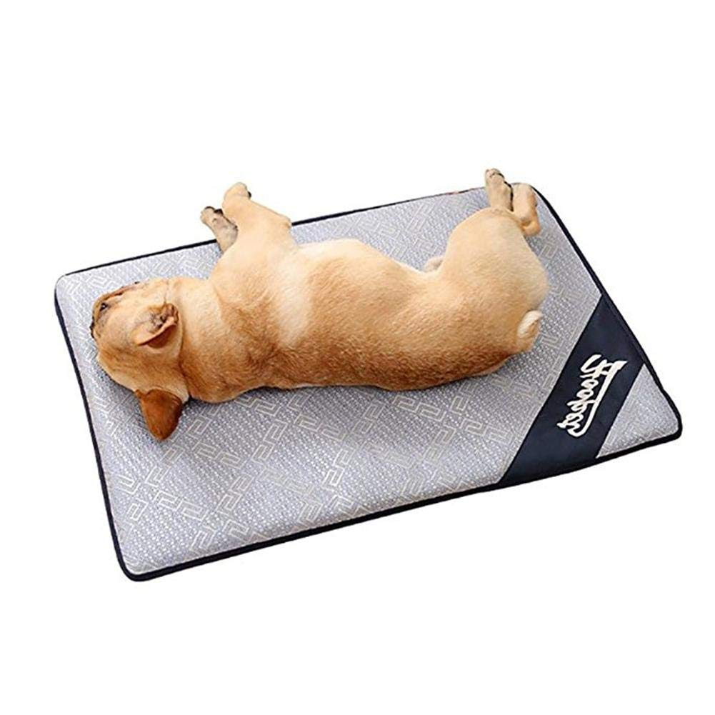 As picture LCookisn Pet Dog Summer Cooling Mat Mattress Cooler Mat for Cat Teddy Small LargeSized Dog Bed Mats Nest Summer Ice Rattan Mat Cushion L