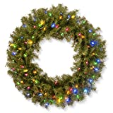 National Tree 30 Inch Norwood Fir Wreath with 100 Battery Operated Multicolor LED Lights (NF3-309-30WB-1)