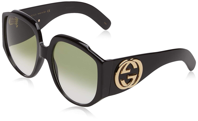 Amazon.com: anteojos de sol Gucci GG 0151 S- 001 negro/verde ...