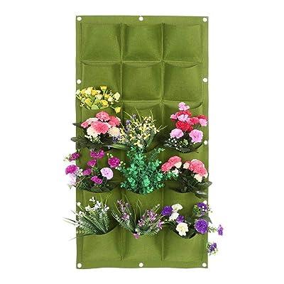 TOPCHANCES Vertical Hanging Planter Wall Garden Mount Planter Pouch for Herbs Flowers Yard Decoration Planting Bag (18 Pockets, Green): Garden & Outdoor