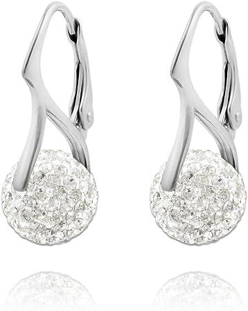 Boucles dOreilles Argent fin 925 avec cristaux blancs de Swarovski