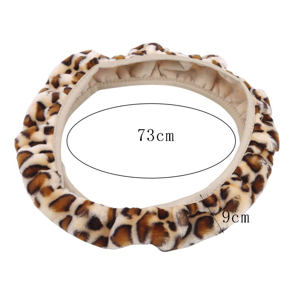 As Description Felpa kemai Funda para Volante de Coche con Estampado de Leopardo Gris