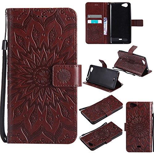 Slide2 Wallet Case,IVY [Sun Flower] Slide 2 PU Leather Cover Wallet Phone Case for Wiko Slide 2 - Brown ()