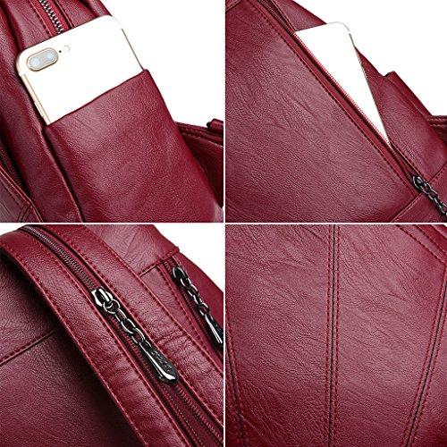Marrón Vino 6 PU la Escuela Mochilas multifuncionales Hombro de Mujer Bolso sintética para 84X4 9 para Bronce Rojo Piel Dabixx de 25X12X32CM 72X12 B1aqw