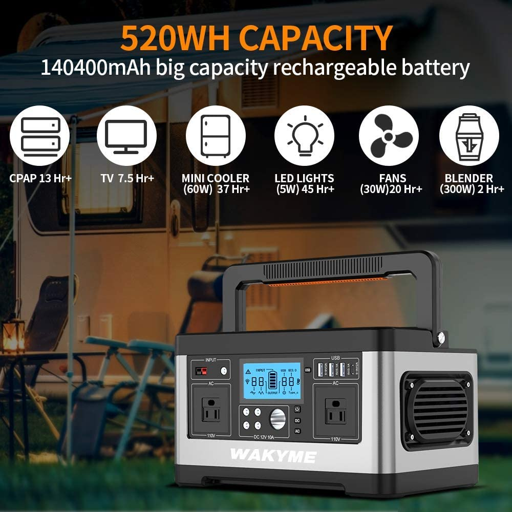 WAKYME Portable Power Station Explorer 500 518Wh Outdoor Generator with 110V//500W AC Outlet Portable Solar Generator Power Outage Emergency Kit