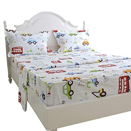 Captivating Brandream Kids Boys Cars Vehicles Bed Sheet Set Cotton Sheets Set 4pcs Twin  Size