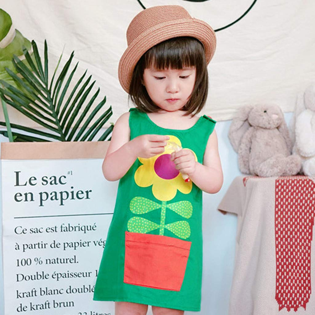 Dinlong Summer Baby Girls Princess Dress Pocket Printed Flower Casual Sundress