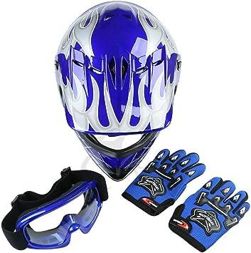SLMOTO DOT Youth Motocross Helmet Child Kids Motorcycle Full Face Offroad Helmet Dirt Bike ATV Downhill Off-Road Black Skull Helmet+Goggles+Gloves