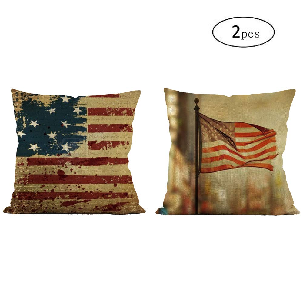 ROZKITCH 2 Pcs American Flag Pillow Case, Home Decorative Throw Pillow Cover Vintage USA Flag Burlap USA Patriotic 4th of July Independence Day Square Pillow case18 x 18 inch (Cover Only)