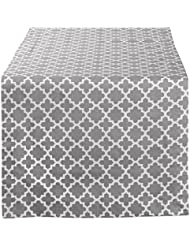 "DII Lattice Cotton Table Runner for Dining Room, Foyer Table, Summer Parties and Everyday Use - 14x72"", Gray and White"