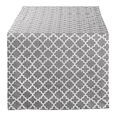 "DII Lattice Cotton Table Runner for Dining Room, Foyer Table, Summer Parties and Everyday Use - 14x108"", Gray and White - FOR YOUR TABLE - This printed table runner measures 14x108"" in size, appropriate for a table that can seat 8-10 people. EASY CARE - 100% cotton, machine washable, gentle cycle, tumble dry low. Low iron if needed. BRIGHT AND CHEERFUL COLORS -  Our cotton table runner provides a subtle & sophisticated impact to your dining display. The elegant and geometric lattice pattern complements any decor from classic to contemporary. - table-runners, kitchen-dining-room-table-linens, kitchen-dining-room - 61jexRKp6yL. SS400  -"