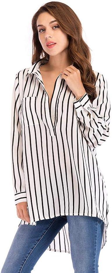 Gusspower Camisetas Mujer Elegantes Verano Tops Primavera Otoño Camisetas Mujer Manga Larga Algodon Mujer Fiesta Blusas Camisas Rayas Mujer: Amazon.es: Ropa y accesorios