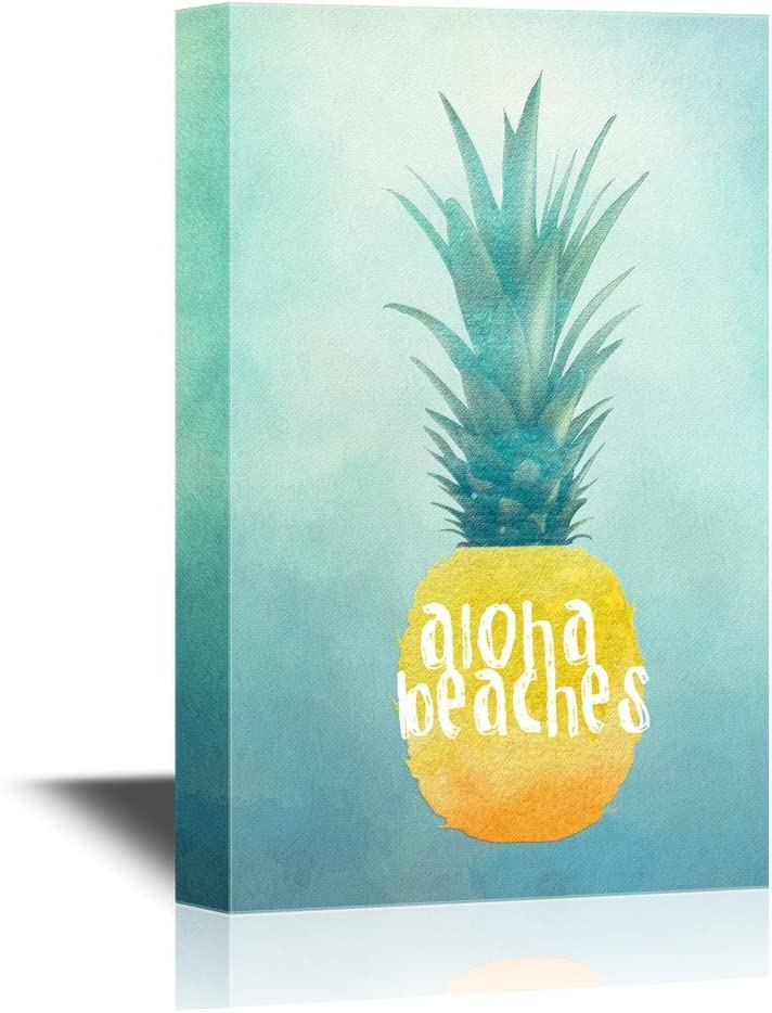 Crafted to Perfection, Delightful Composition, Yellow Pineapple with The Words Aloha Beaches
