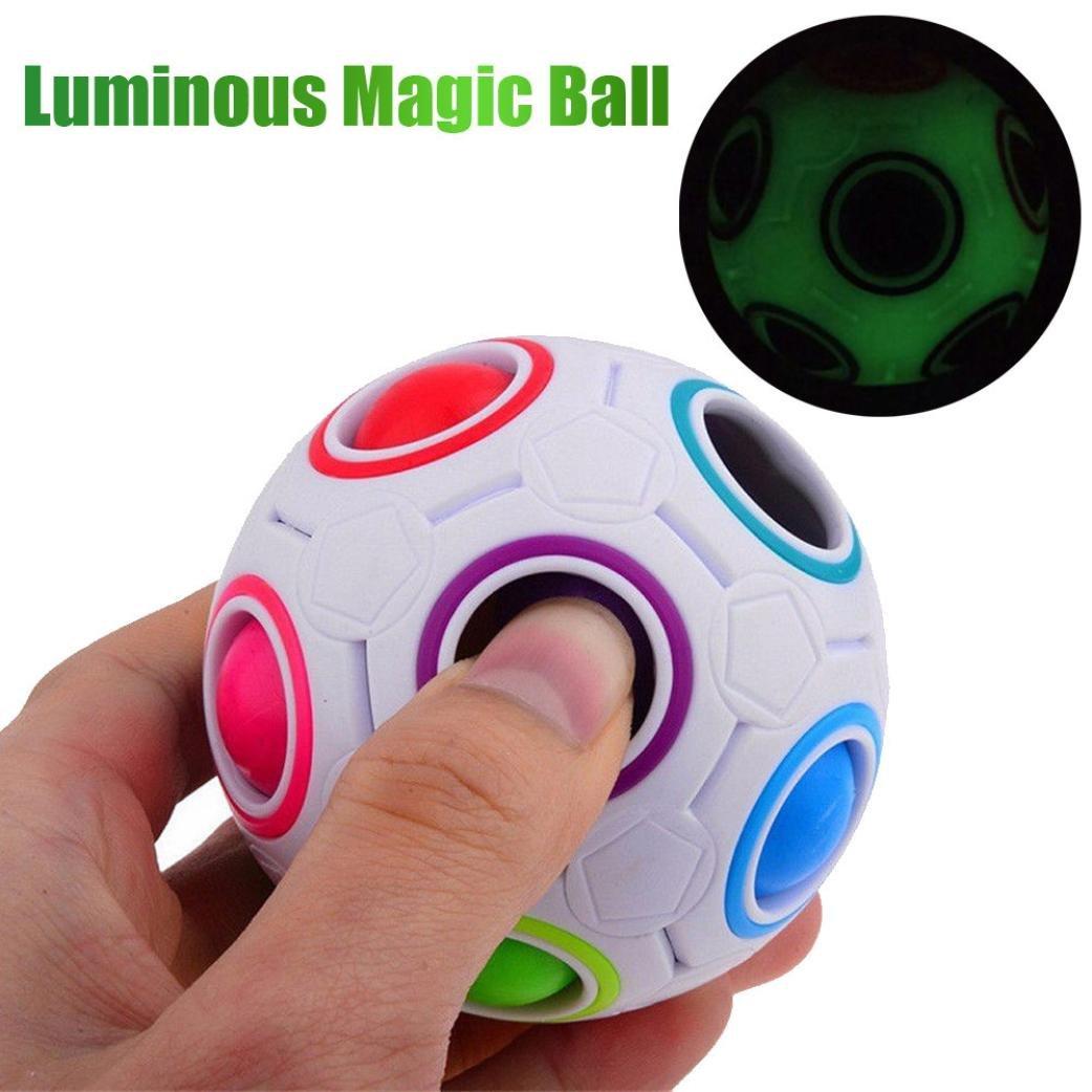 HKFV Neue Luminous Stress Reliever Regenbogen Magie Ball Kunststoff Cube Twist Puzzle Spielzeug White Rainbow Ball leuchtende Modelle Dekompression Spielzeug Magic Rainbow Ball