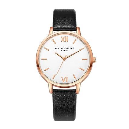Xinantime Relojes Mujer,Xinan Reloj de Pulsera Reloj Redondo Cuero Imitación (Negro)