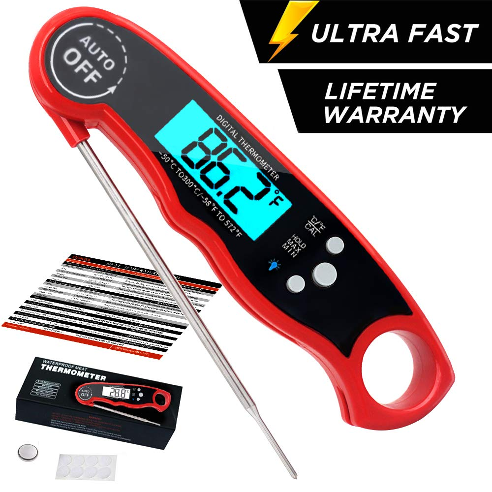 Best Digital Meat Thermometer Probe-BBQ Cooking Baking. COKEA Instant Read Meat Thermometer for Grilling and Kitchen Upgraded with Waterproof and Backlight Functions
