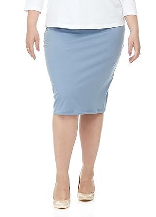 996de1b1f2e Esteez Womens Plus Size Skirt Cotton Spandex Knee Length Dallas Baby Blue 1X