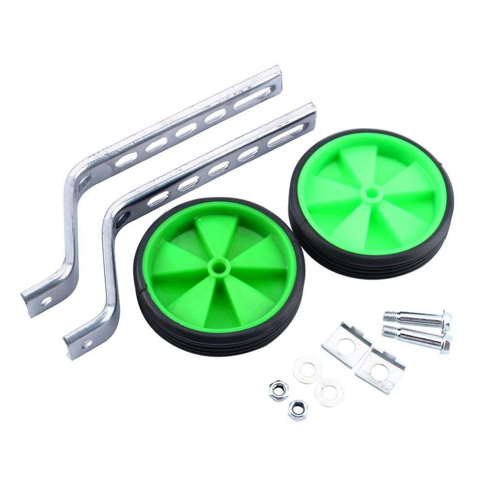 GLOGLOW 2Pcs Bike Stabilisers, Adjustable Child Training Side Wheels Stabilizer Outdoor Sports Accessories for Children 12-20 inch Boy Girl Bicycle Balance (Green)