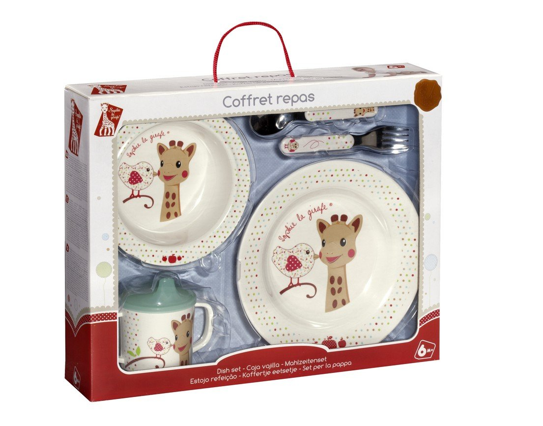 Vulli Sophie La Giraffe 4 Piece Dish Set - Kiwi the Bird Version