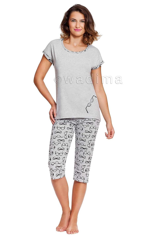 33add2b453b0 neu Wadima Damen Schlafanzug Muster grau lang Zweiteiler kurzarm ...