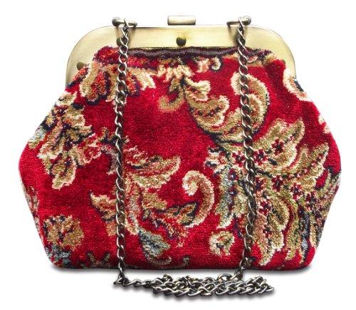 MYSTERY Blossom Red - Classico Gladstone tappeto incorniciato reticolo borsa