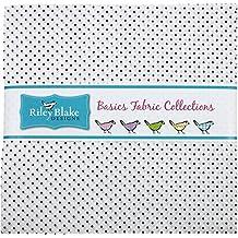 "Swiss Dot on White Navy 10"" Stacker 42 10-inch Squares Layer Cake Riley Blake Designs 10-660-21-42"