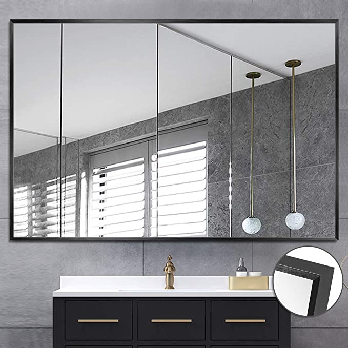 Neutype Large Wall Mounted Mirrors For Bathroom Bedroom Living Room Vanity Mirror Brushed Aluminum Alloy Thin Frame Burst Proof Glass Horizontal Or Vertical Hanging 36 X24 Black Home Kitchen Amazon Com