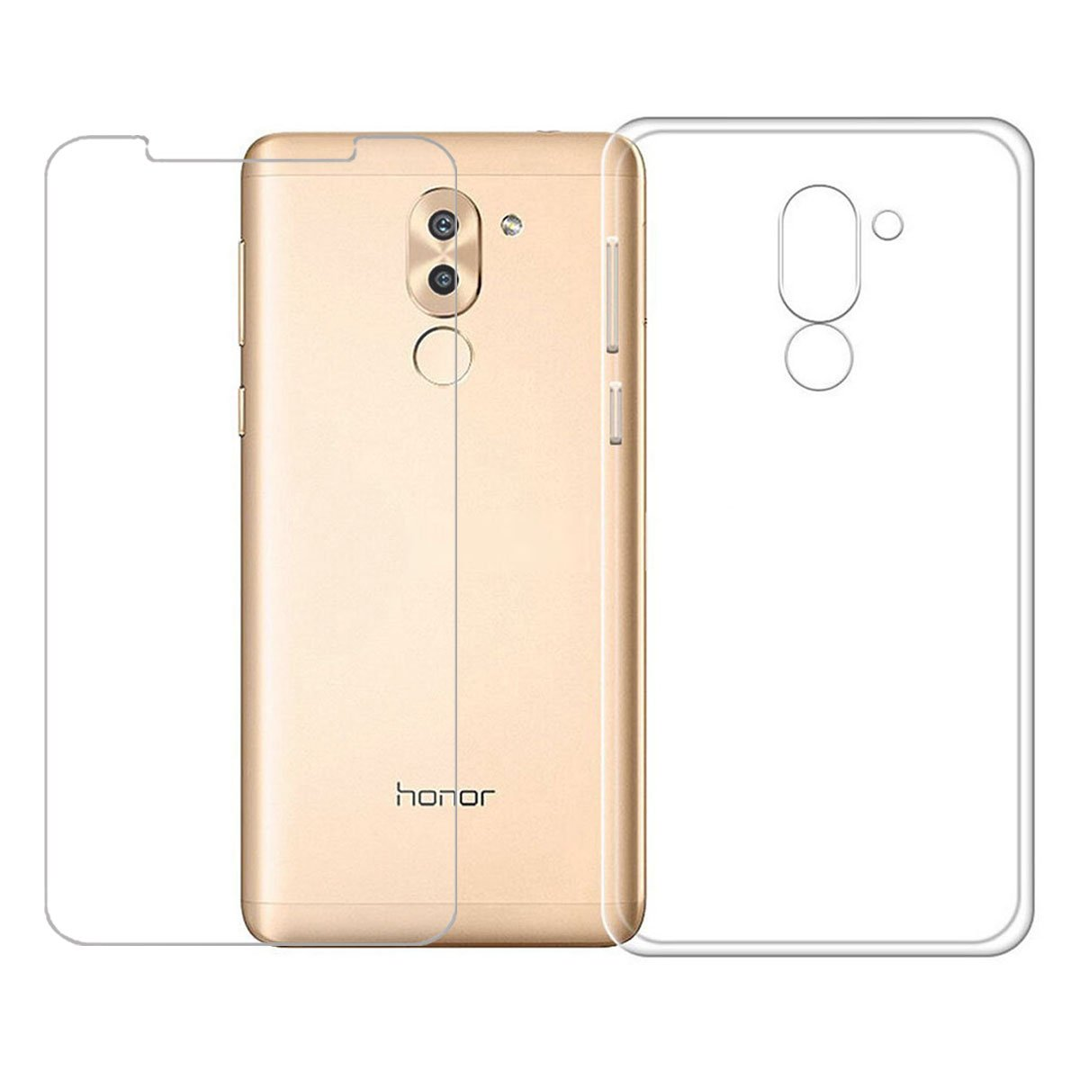 Custodia per Huawei Mate 9 Lite / Honor 6X , IJIA Trasparente TPU Silicone Morbido Protettivo Coperchio Skin Custodia Bumper Protettiva Case Cover per Huawei Mate 9 Lite / Honor 6X (5.5') + un foglio Pellicola protettiva in vetro temperato